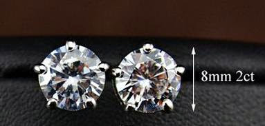 Rhodium Plated 2ct Cubic Zirconia Earrings