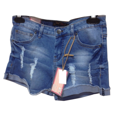 Funkysoul Ripped Medium Wash Jean Shorts