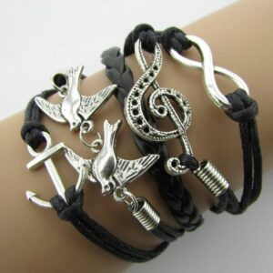 Retro Leather & Rope Nautical Infinity Bracelet