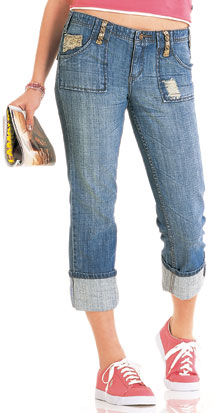 Squeeze Ripped Jeans Capris