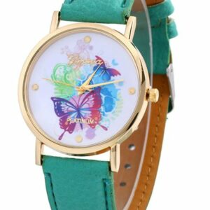 Aqua Platinum Watch with Butterflies – ADD ON ITEM $5