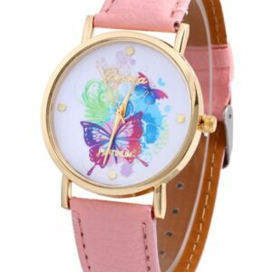 Pink Platinum Watch with Butterflies  – ADD ON ITEM $5